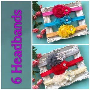 Other - 6 Shabby Flower Bow Headbands NEW Baby Headband